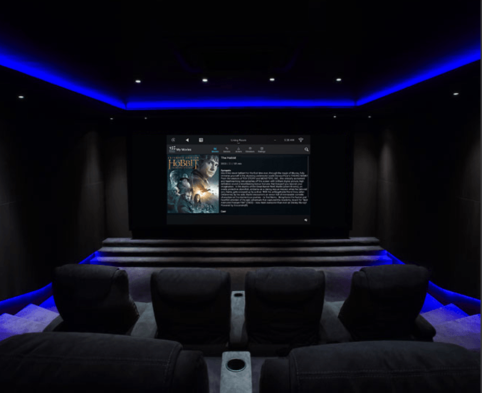 An image with theater cabling showing a home theater systems.